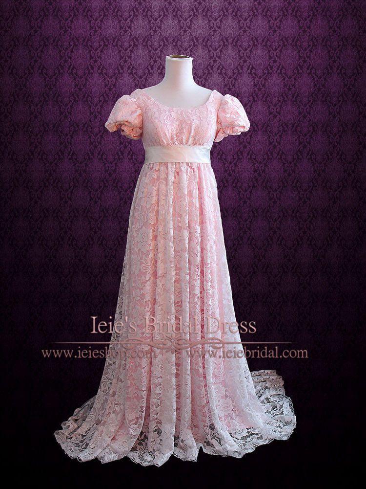 Pink Regency Empire Waist Formal Prom Dress | Satin sash, Regency ...