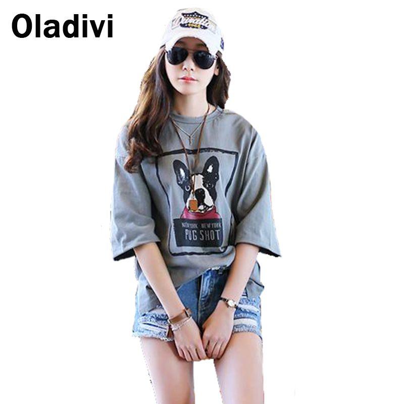 XXXXXL Plus Size Summer Top 2017 Fashion Women T Shirt Dog Printed Cotton Tshirt  Female Casual Loose Top Tee Tunic XXXXL XXXL XL c338aad23cb0