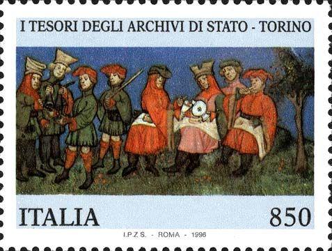 """1996 - """"Tesori dei musei nazionali"""": Archivio di Stato di  Torino - particolare tratto dal codice membranato miniato """"Livre du Roy Modus et de la Reine Racio"""", del 1486 appartenuto al Duca di Berry"""