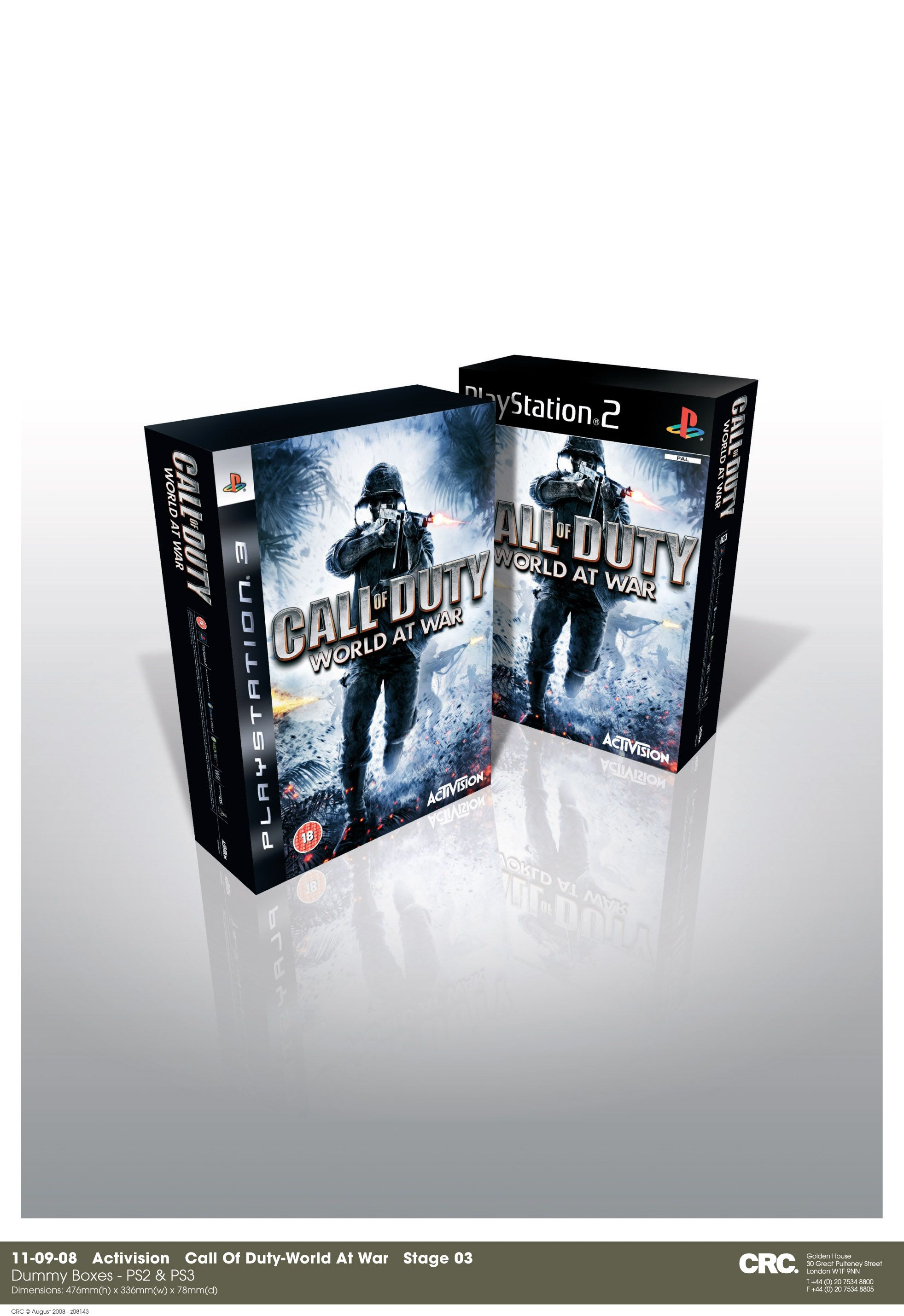 Call of Duty: World at War dummy boxes (PS2 & PS3). Client: CRC, London. Circa 2009. © Sean Mowle.