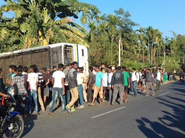 Accident Bus heading Jaigaon from Siliguri overturns while