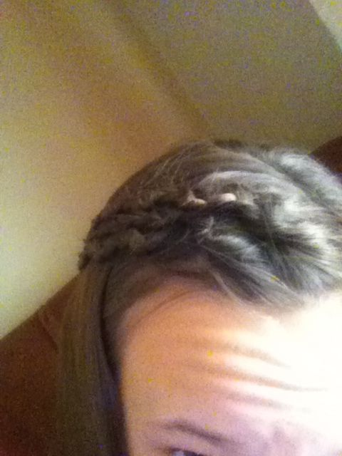 I did a snake braid three times and then bobby pinned them back. If you wanna know how to snake braid keep reading. It is really easy just regular braid and then take two of the three sections and slide them up have fun doing it.:)