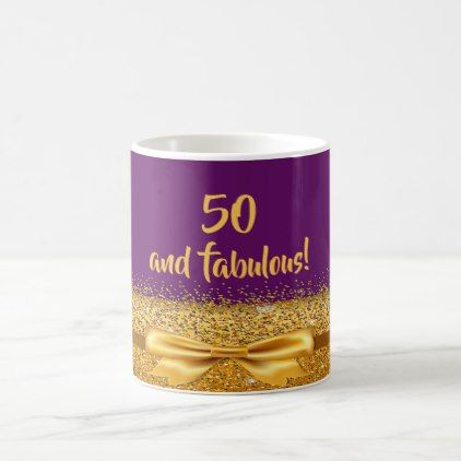 50 fabulous chic golden bow with sparkle on purple coffee mug