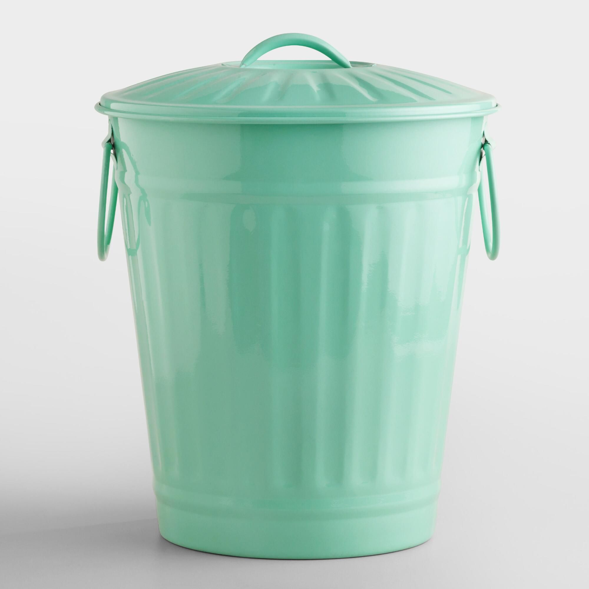 Mint Retro Galvanized Trash Can Blue By World Market In