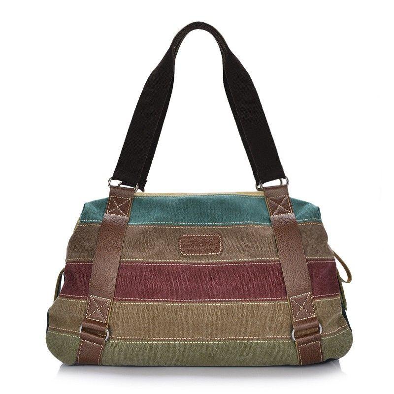 Casual Canvas Striped Clock Block Zipper Fastening Shoulder Bag For Women