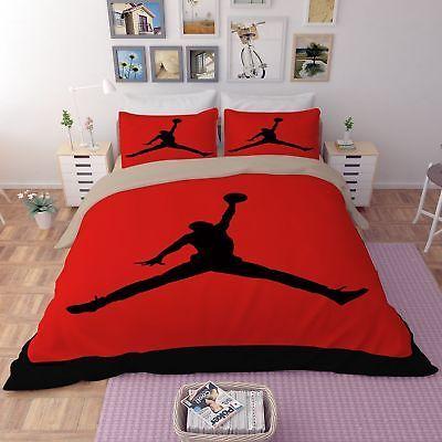 Fotball Jordan Bedding Set Duvet Quilt Cover Pillowcases Domitory Bedroom Sports Bedding Basketball Bedroom Basketball Themed Bedroom