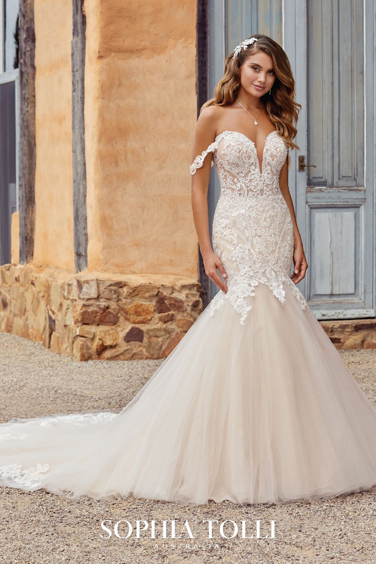 London Style Y22065 Sophia Tolli Wedding Gowns Mermaid Glitter Tulle Veil Tulle Veils [ 1800 x 1200 Pixel ]