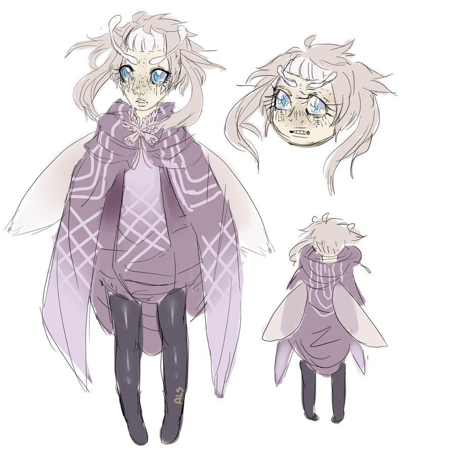 Moth Girl By Antiquels Cute Monsters Moth Anime Drawings