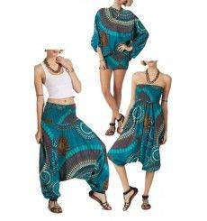 sarouel 3 en 1 bleu motifs mandala yokaso sarouel femme couture et pantalons. Black Bedroom Furniture Sets. Home Design Ideas