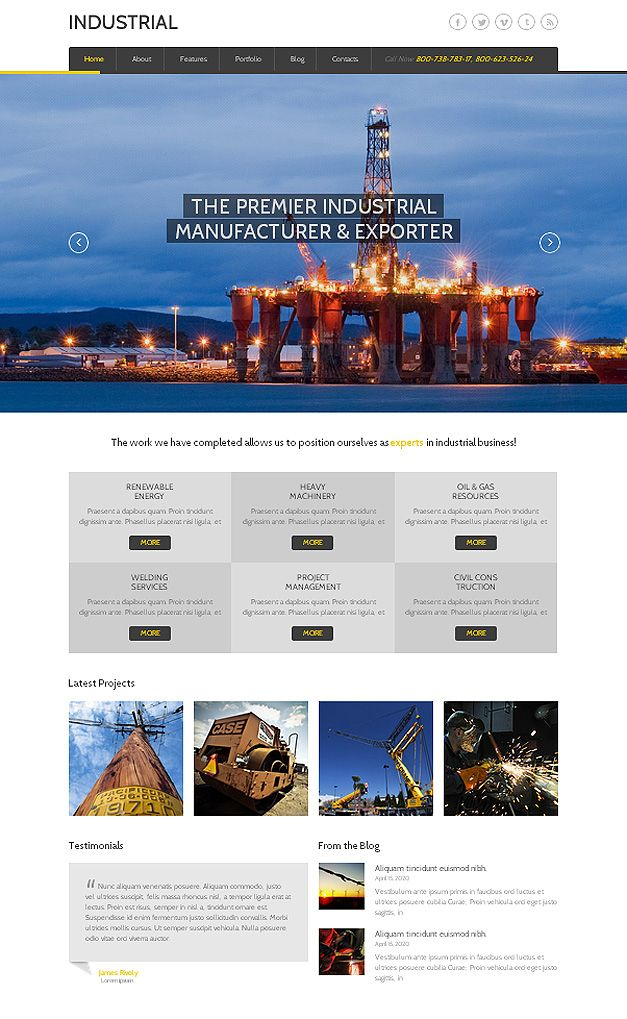 Bootstrap Website Templates Industrial Responsive Bootstrap Website Template  This Is A