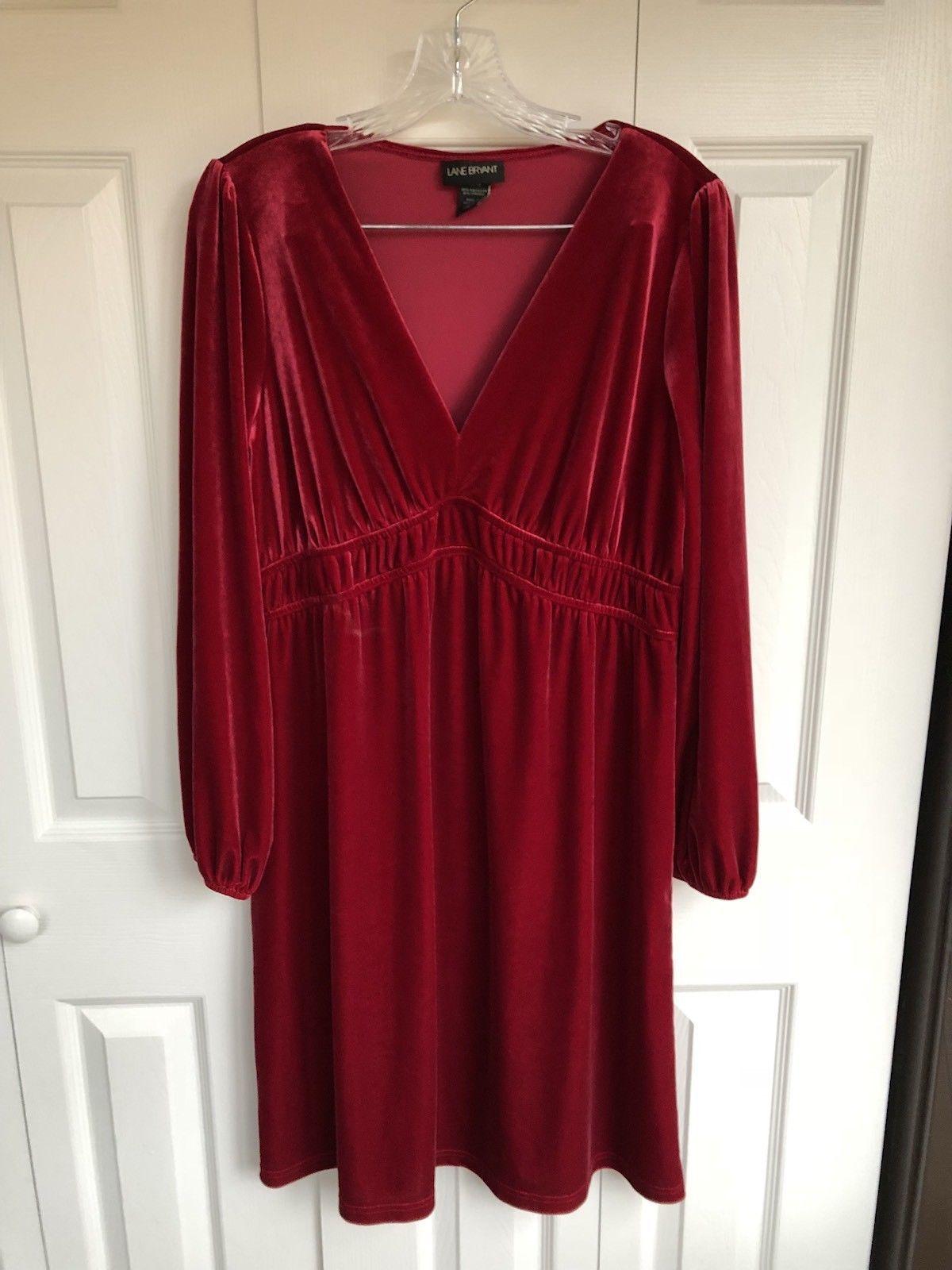 Nice amazing lane bryant red maroon velvet look dress u long
