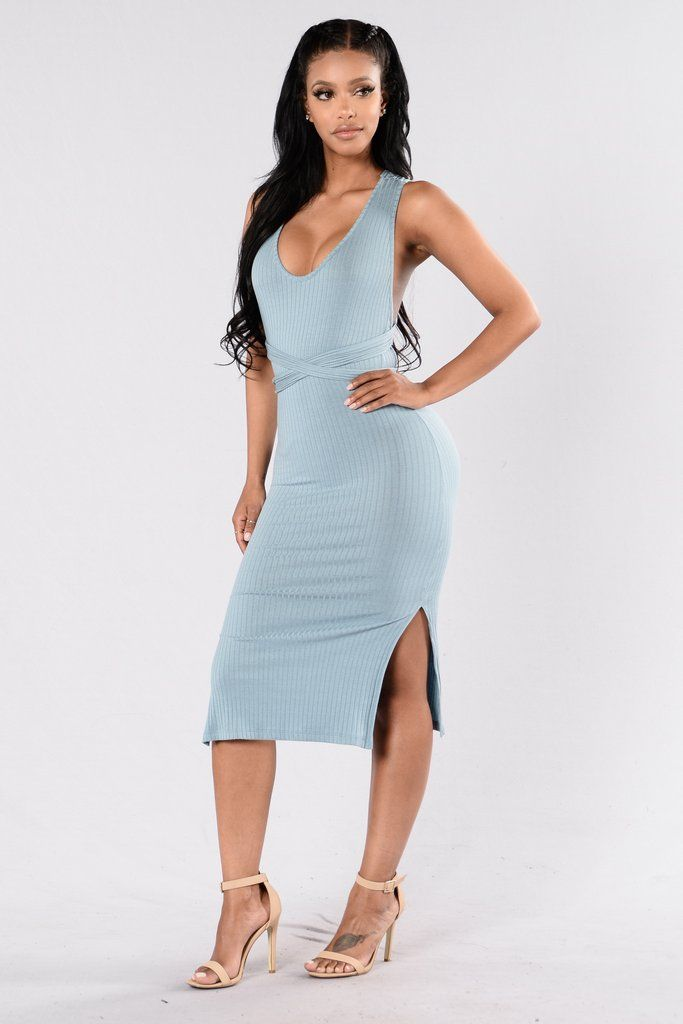 Take On Me Dress – Dusty Blue