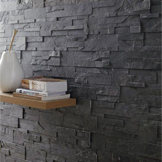 plaquette de parement el gance en pierre naturelle noir mur parement chemin e pinterest. Black Bedroom Furniture Sets. Home Design Ideas