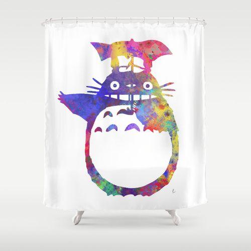 My Neighbor II Rainbow Totoro Ghibli Shower Curtain By Miss L In Art
