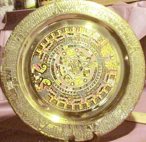 Vintage Large Solid Brass Mexican Aztec Calendar Tray