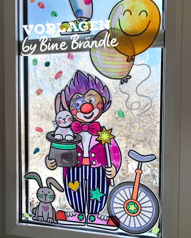 clowns mit girlande  bines shop  fensterbilder basteln