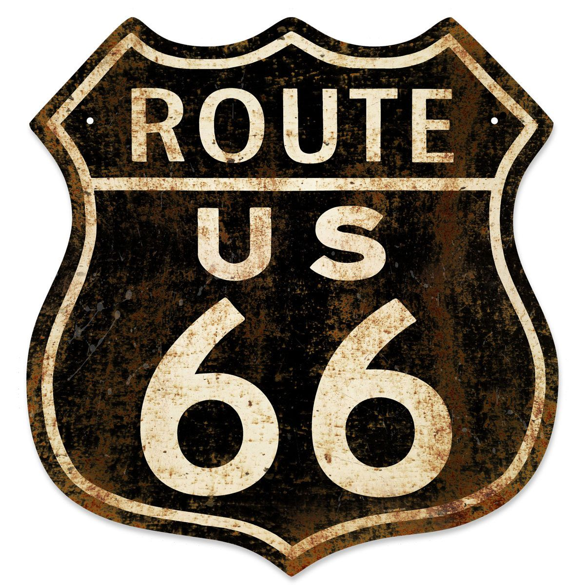 Route 66 Distressed Black Shield Metal Sign 15 x 16