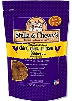 Why we love Stella & Chewy's Chick, Chick, Chicken Cat Food: Cats can't resist!  They love raw food. All the benefits of raw food without the mess and preparation! Grain-free and balanced to mimic a cat's natural diet. http://shopbarkbarkclub.com/stellaandchewys-rawfreezedriedchickchickchickencatfood12oz.aspx