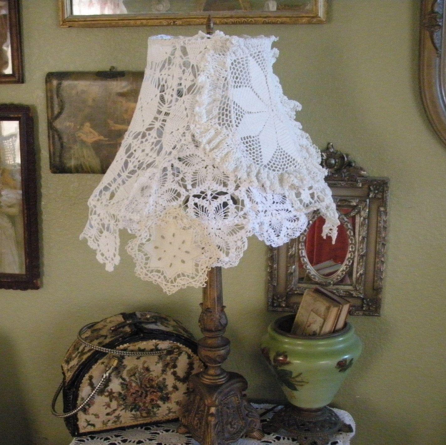 Doilies Lamp Shade - Lace. (Sort of fru-fru)