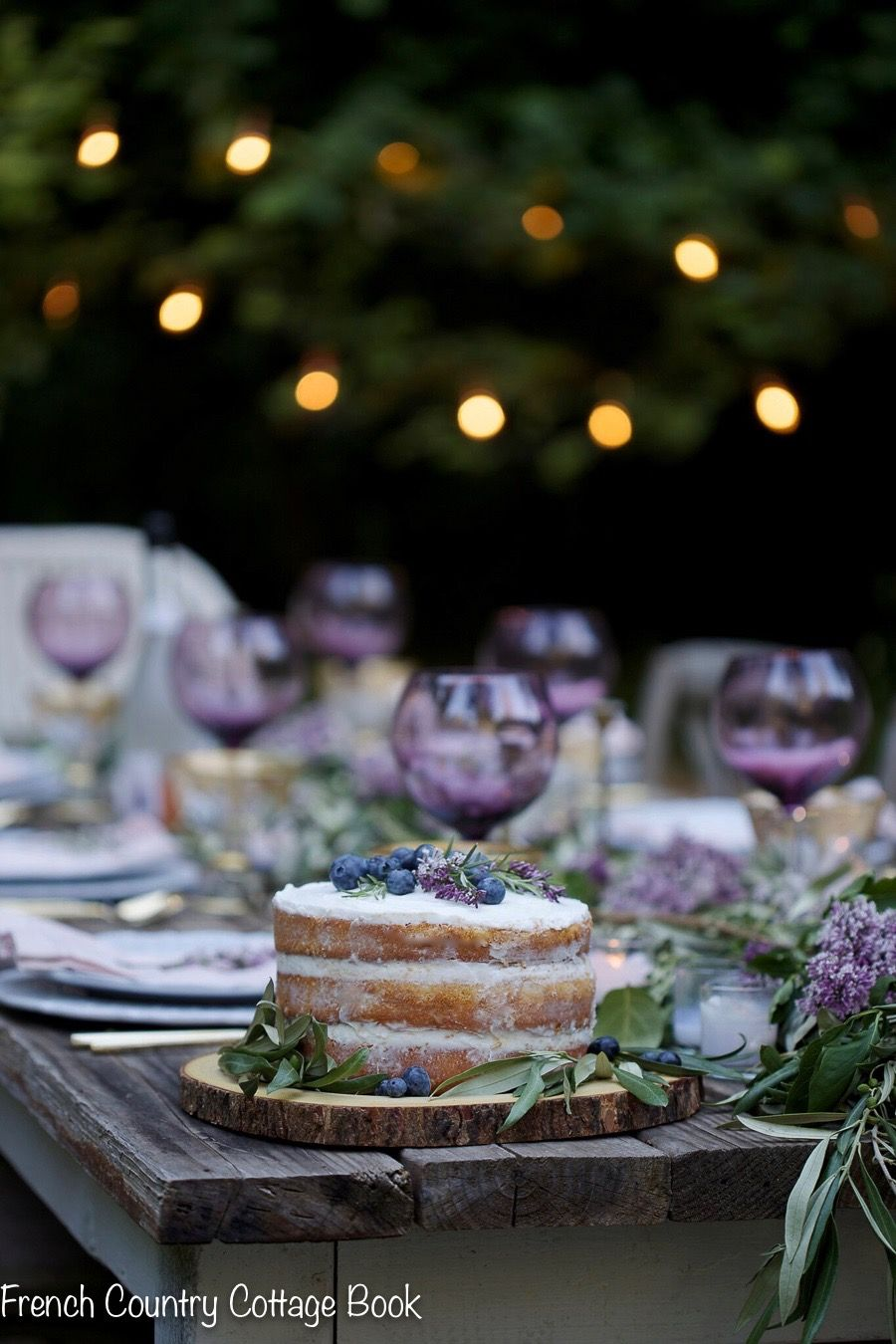 Photo of Lilac & olive branch inspired table & rustic cake – French Country Cottage