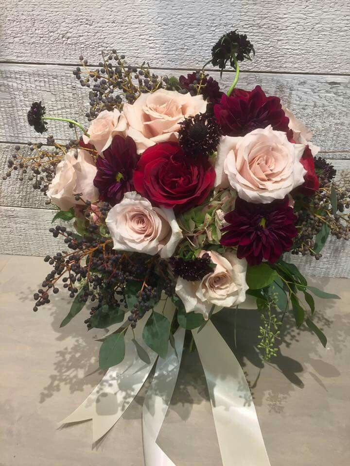 Beautiful Bouquet For Cranberry Wedding Quicksand And Black Magic Roses Ivory Ribbon And Blin