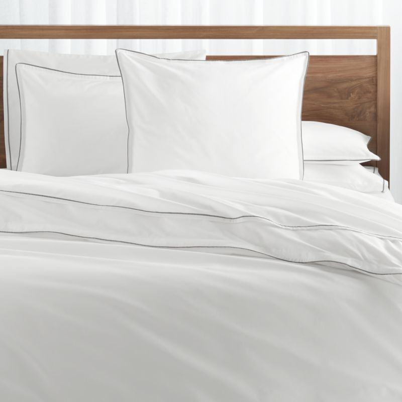 Haven Grey Percale Duvet Covers And Pillow Shams Crate And Barrel Bed Linens Luxury Bed Linen Design White Linen Bedding