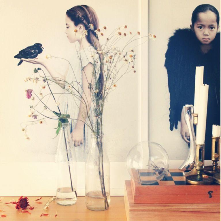 girl with black bird