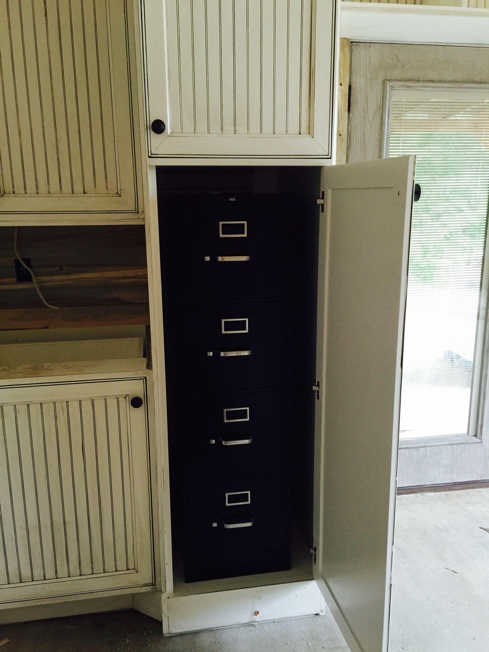 Custom built cabinet for filing cabinet