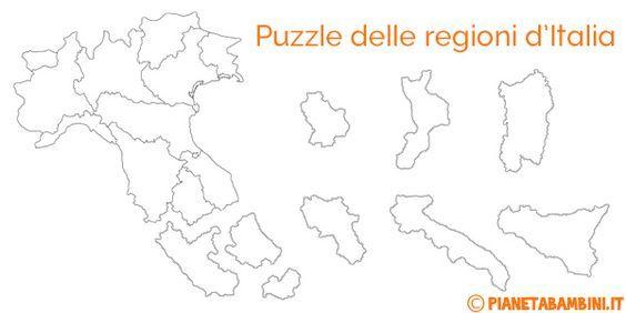 Cartina Muta Regioni Italia Settentrionale.Puzzle Delle Regioni D Italia Da Stampare Attivita Geografia Geografia Risorse Didattiche