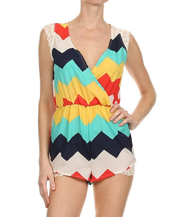 Look at this Kokette Yellow & Navy Chevron Surplice Romper on #zulily today!