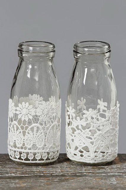 Armario Branco De Cozinha ~ Artesanatos de Renda com Vidro Pinterest Vidros, Renda e Garrafas decoradas