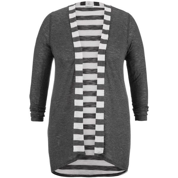 maurices Plus Size - Striped Long Sleeve Tunic Cardigan ($8.75) ❤ liked on Polyvore featuring tops, cardigans, grey, plus size, maurices, plus size tops, plus size long sleeve tops, long sleeve tops and grey long sleeve top