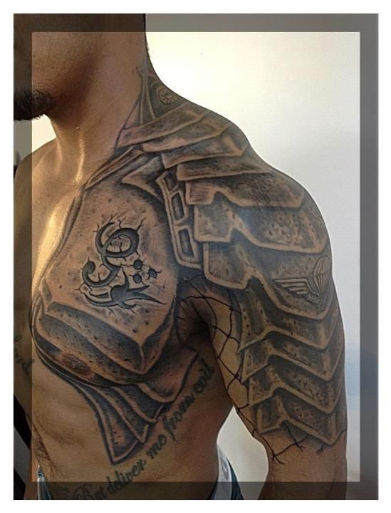 Half Sleeve Shoulder Gladiator Armor Christmas Thanksgiving Holiday Quote Armor Tattoo Shoulder Armor Tattoo Armour Tattoo
