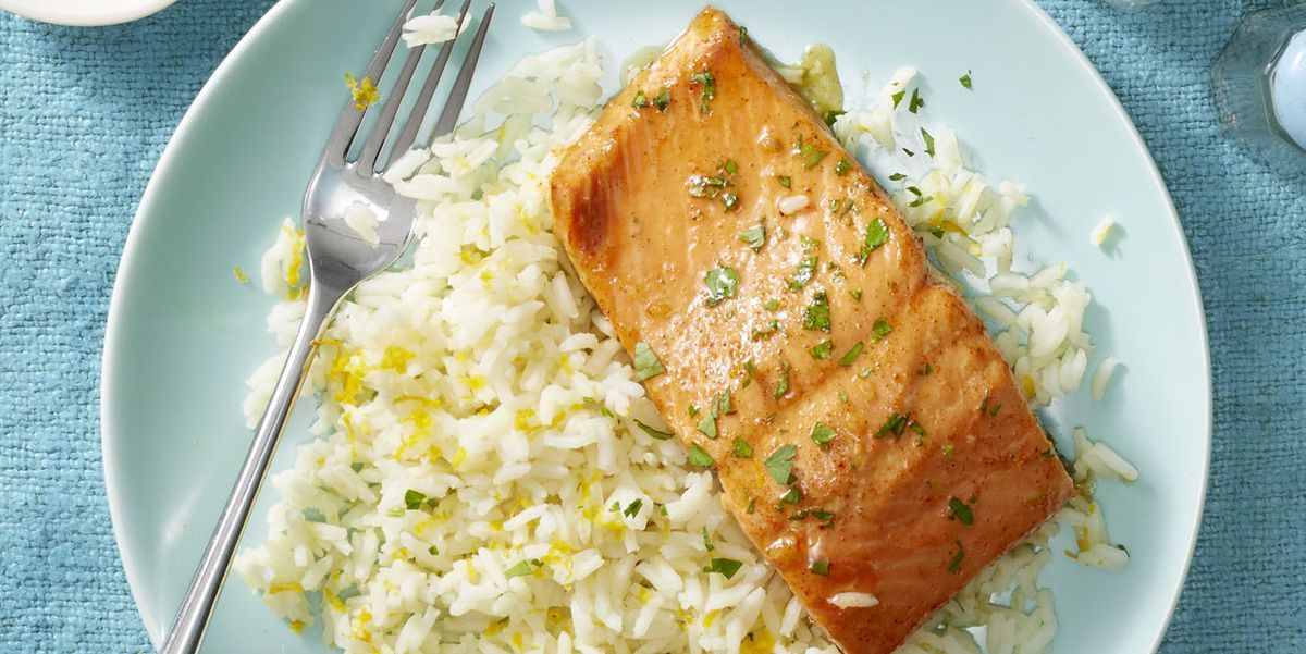 Photo of Garlic Butter Salmon and Citrus Rice