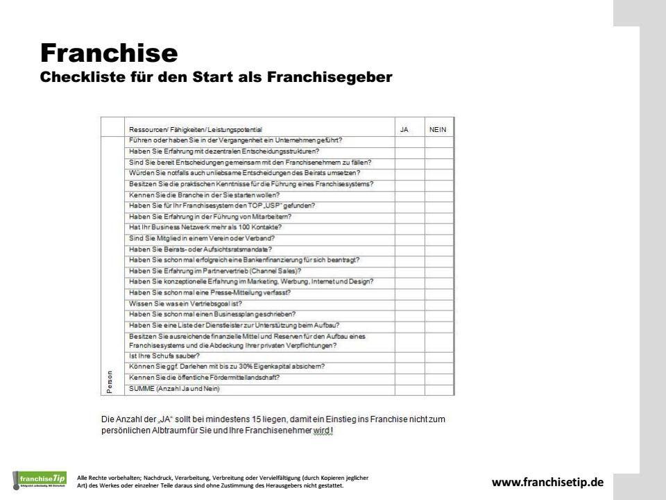 Checkliste Fur Franchisegeber Www Franchisetip De Checkliste Unternehmungen Liste