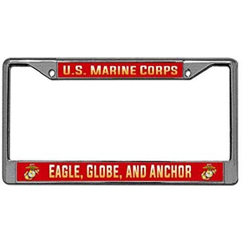 US Marine Corps License Plate Frame - Eagle, Globe, Anchor - USMC ...