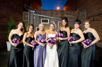 3a43599c41e6 I like the purple flowers with black bridesmaids dresses. I'm thinking  it'll be easier for the girls to find a black dress they like since they're  all over ...