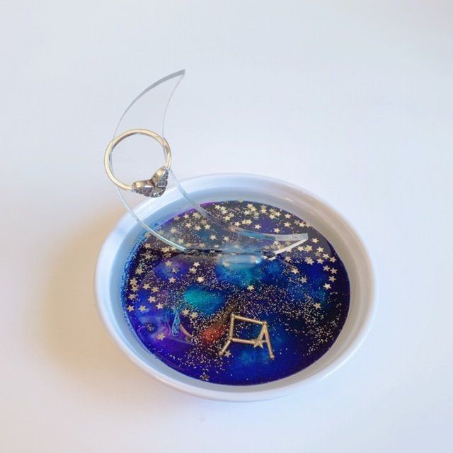 Items similar to Moon Ring Holder - Libra Constellation Horoscope-  Celestial Stars - Sky Clouds - Resin Art - Galaxy - Zen on Etsy#art #celestial #clouds #constellation #etsy #galaxy #holder #horoscope #items #libra #moon #resin #ring #similar #sky #stars #zen