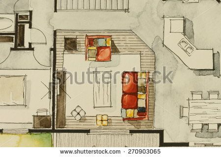 Image Result For Rendering Floor Plan Watercolor Living Room