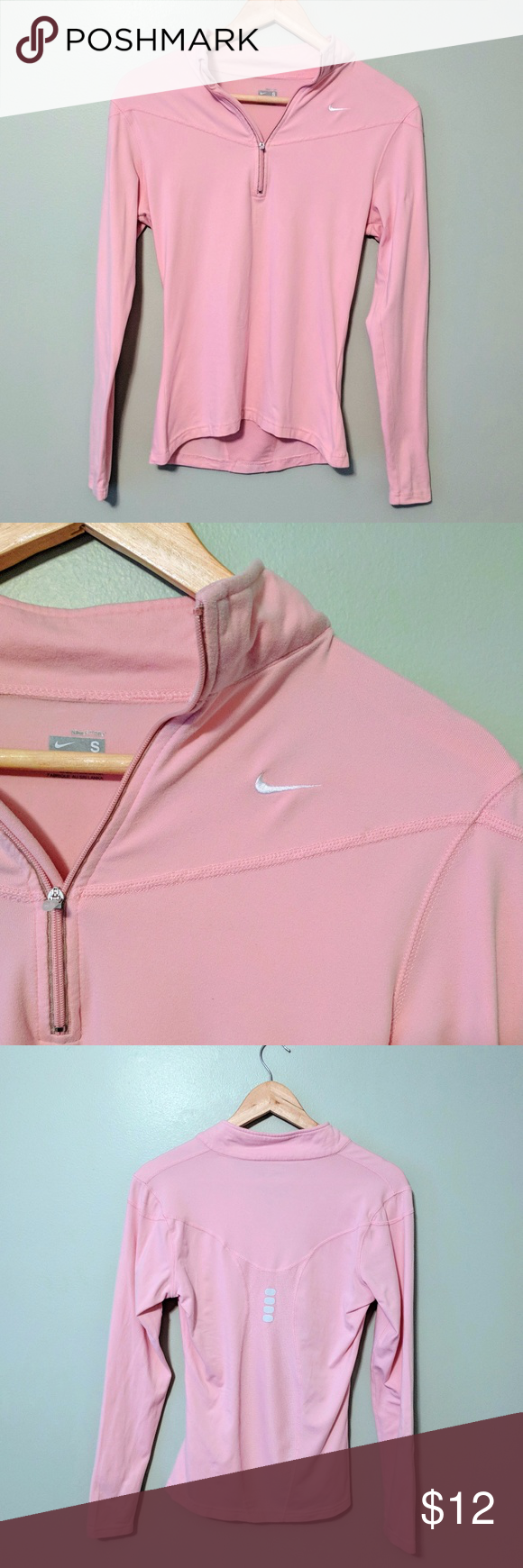 Blush Pink Nike Dry Fit Long Sleeve Sweatshirt Long Sleeve Sweatshirts Pink Nikes Long Sleeve Workout Top [ 1740 x 580 Pixel ]