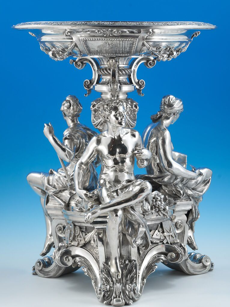 An Impressive And Important French Silver Table Centerpiece Circa