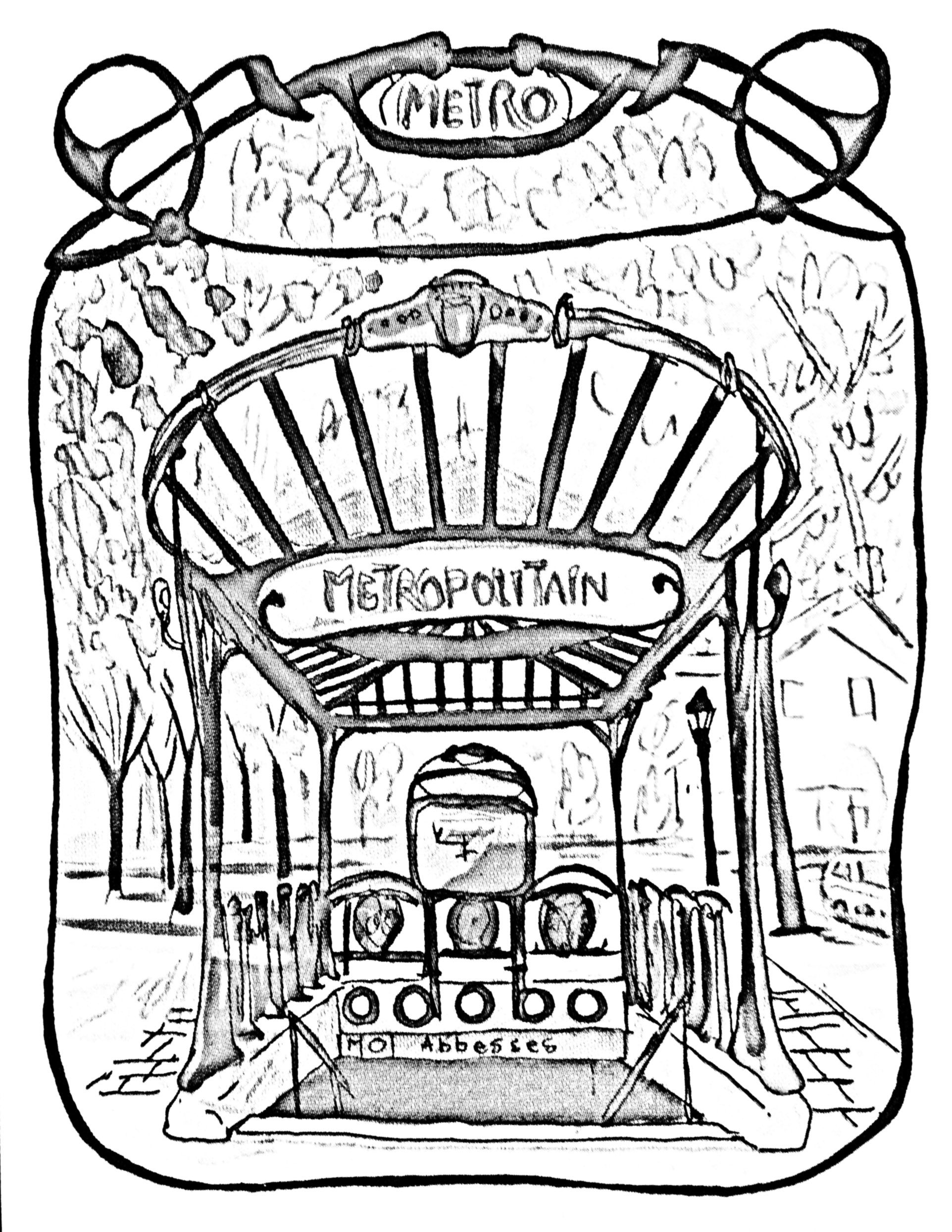 Printable coloring pages paris - Free Coloring Page Coloring Adult Entrance Gate To Paris Subway