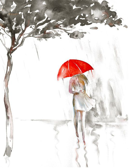 Watercolor Painting Rain Red Umbrella Romantic Giclee Art