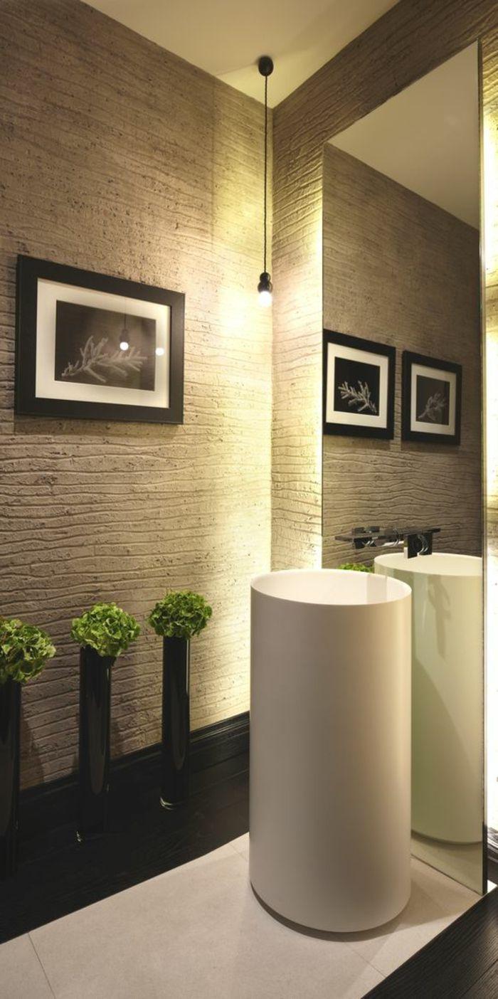 Idee Deco Salle De Bain Nature, Grande Vasque Colonne, Miroir Mural Su  Plafond Au