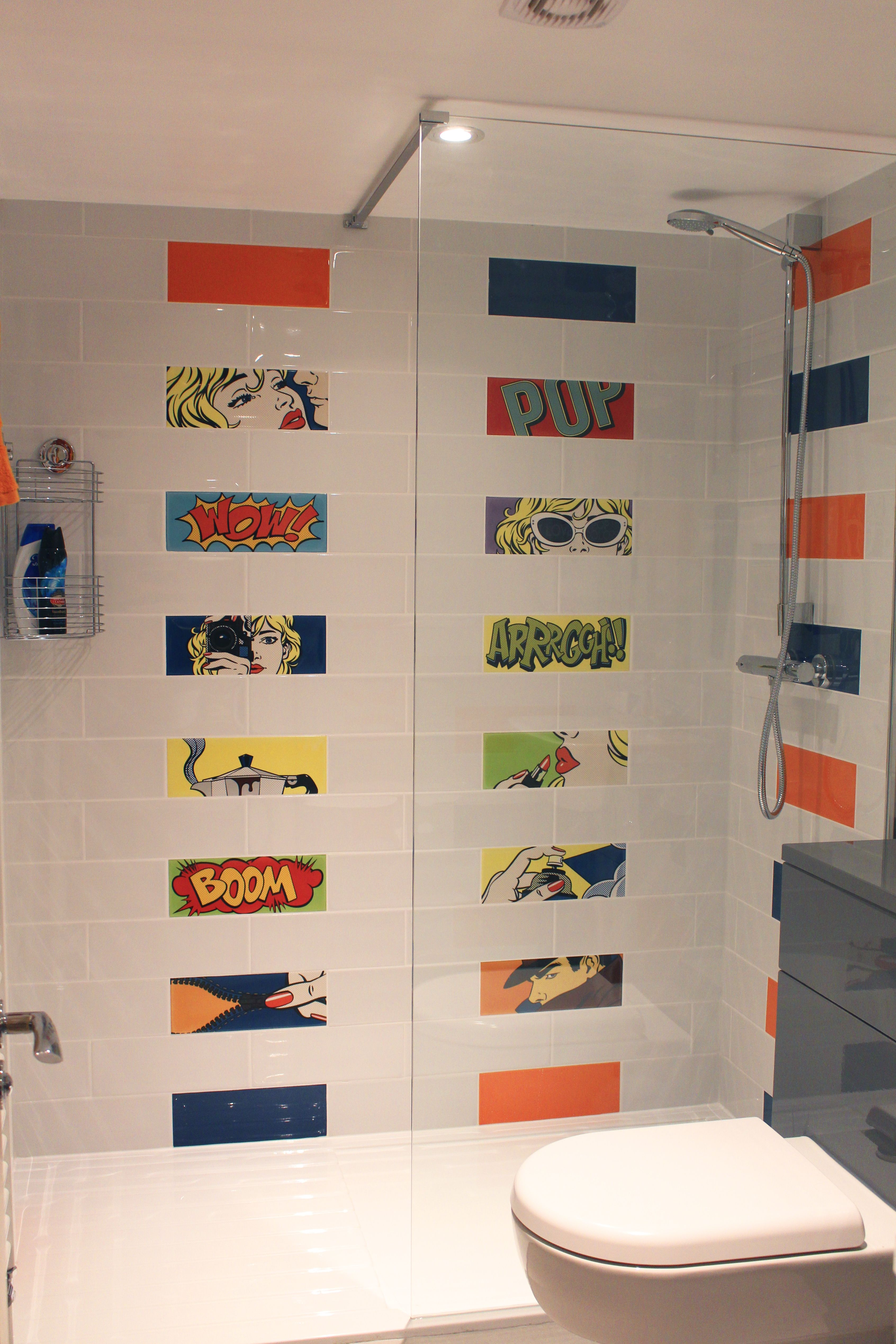 En Suite With Milano Cartoon Decor Mix Blue And Orange Tiles Pop