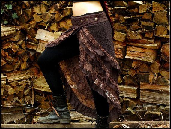 Gitana Bohemia Hippie falda Brown  Festival por AryaClothing