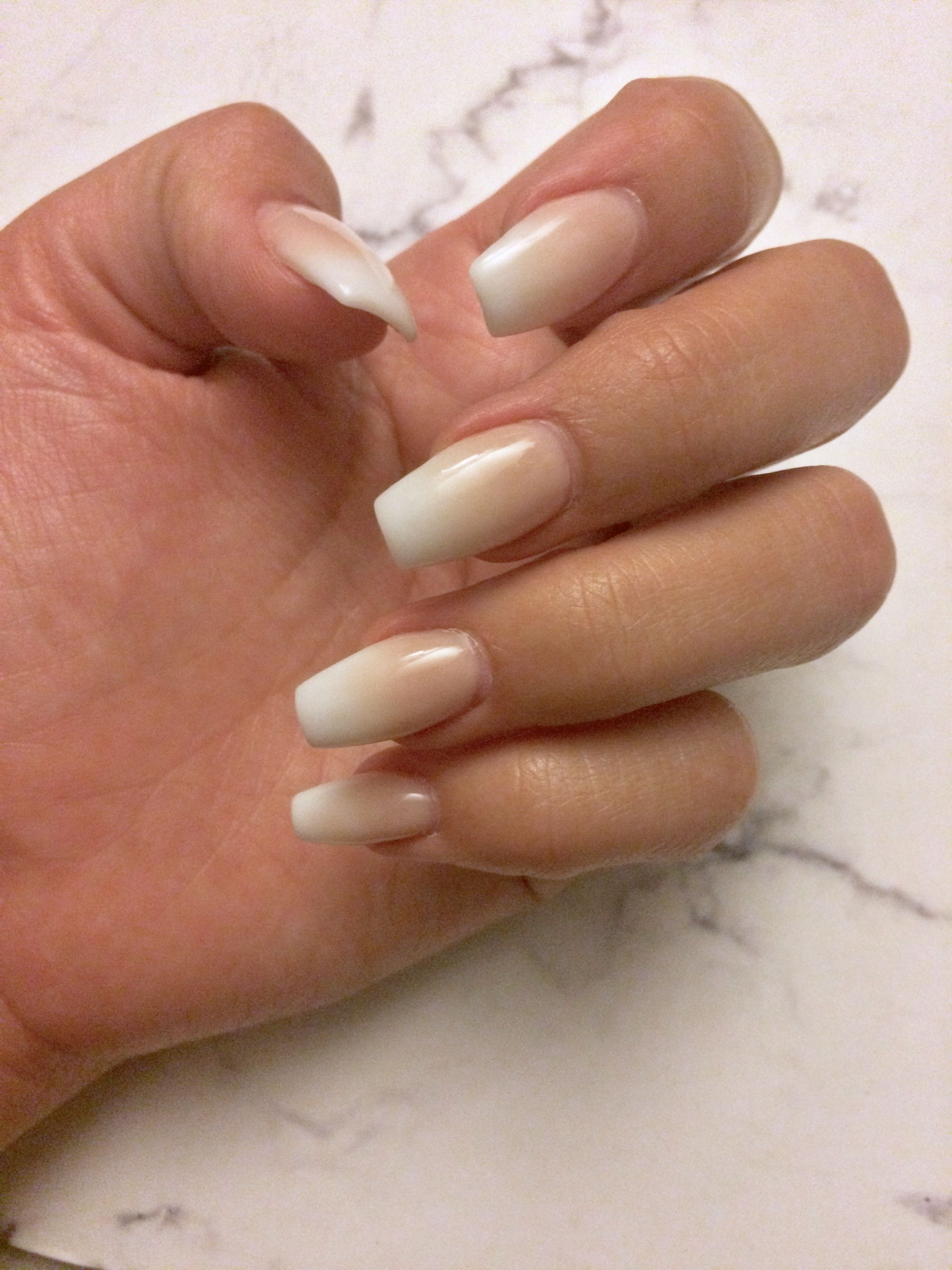 Delicious Nail Designs: Ombré French Tip, Tapered Square, Light Neutral Color