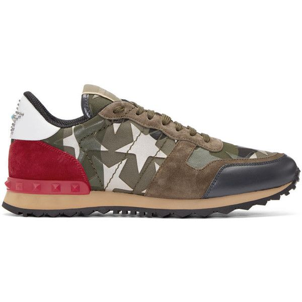 d42742ee7ec6d1 Valentino Green Stars Camo Sneakers ( 850) ❤ liked on Polyvore featuring  men s fashion