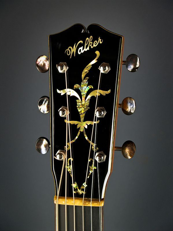 Beautiful Acoustic Guitar Headstock Walker With Gorgeous Inlay And Silver Tuning Pegs Keys Gold Touches Guitar Inlay Luthier Guitar Bass Ukulele