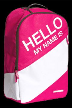 Pink Hello My Name Is Backpack at Threader® Streetwear, Hip Hop Clothing, and Urban Clothing. $50.00.